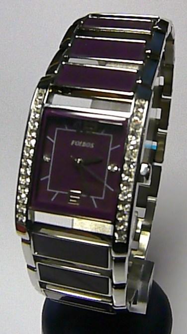 Dámské fialové keramické ocelové hodinky Foibos 1g27 (fialová keramika) 1G82