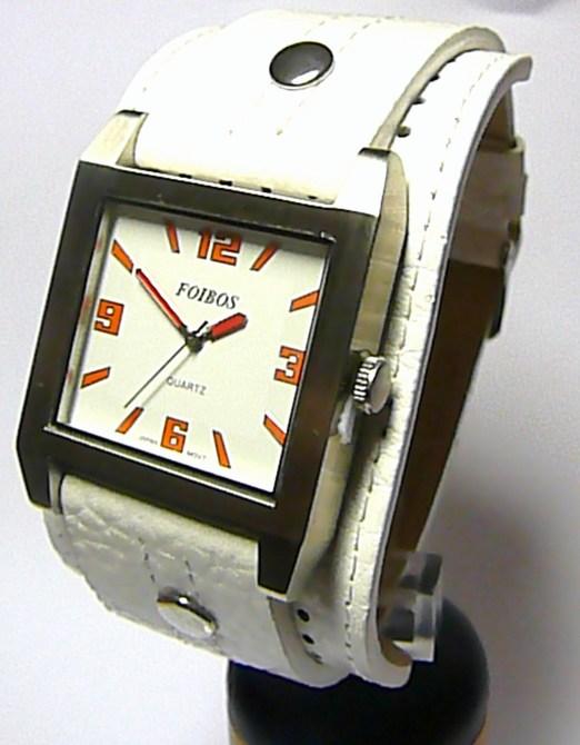 Velké hranaté mohutné bílé dámské hodinky Foibos 2524 s oranžovými číslicemi