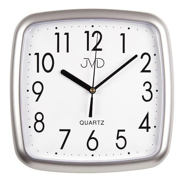 Stříbrné hranaté nástěnné hodiny JVD quartz H615.16