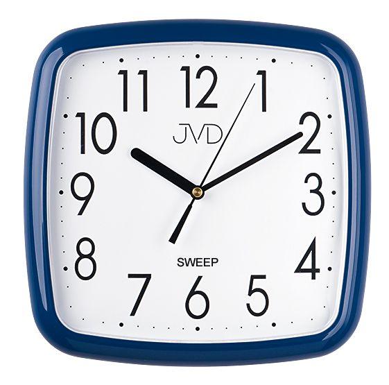 Modré hranaté nástěnné netikající hodiny JVD sweep HP615.12