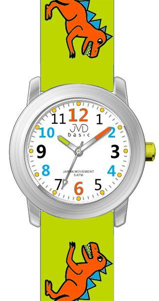 Dětské zelené chlapecké hodinky JVD basic J7123.2 s pravěkým raptorem