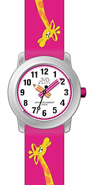 Dětské holčičí růžové náramkové hodinky JVD basic J7121.1 s žirafkou 5ATM