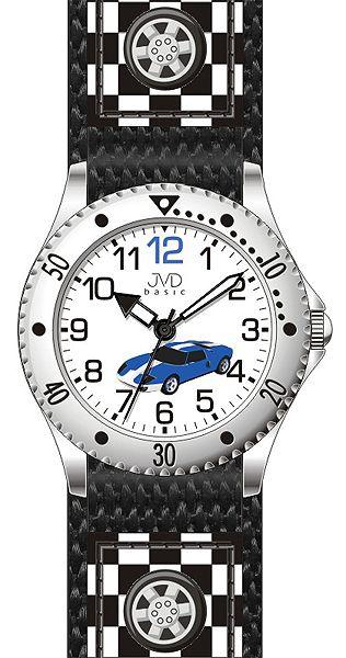 Chlapecké dětské černé hodinky JVD basic J7126.1 se závodním autem