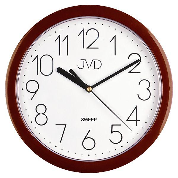 Hnědé plastové nástěnné netikající tiché hodiny JVD sweep HP612.16