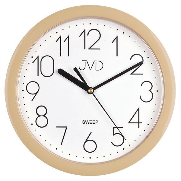 Béžové plastové nástěnné netikající tiché hodiny JVD sweep HP612.15