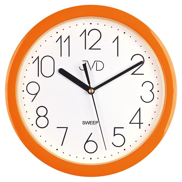 Moderní oranžové dětské nástěnné netikající tiché hodiny JVD sweep HP612. 11