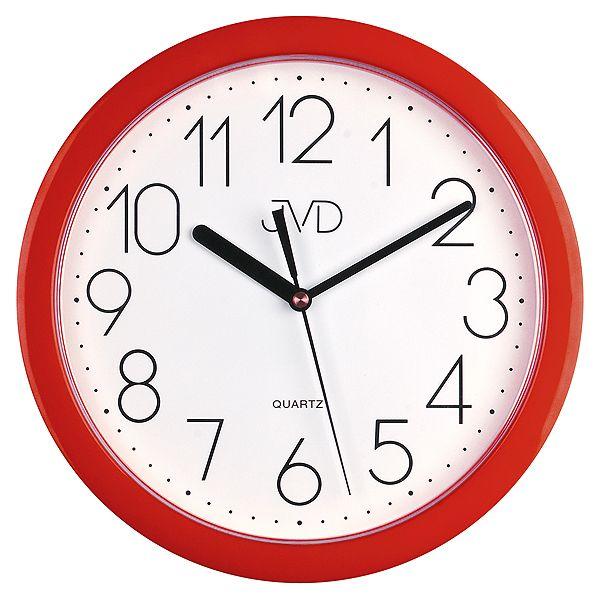 Červené plastové nástěnné netikající hodiny JVD sweep HP612. 2
