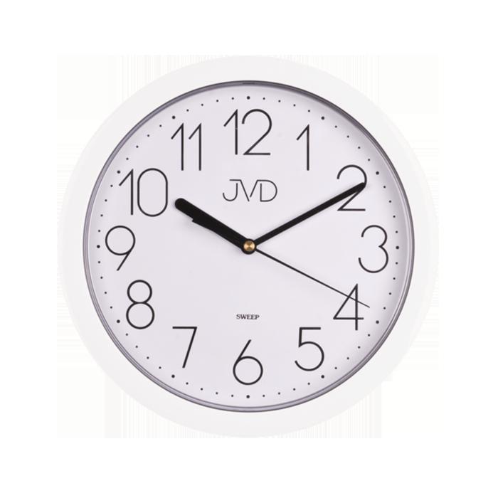 Bílé nástěnné netikající tiché hodiny JVD sweep HP612.1