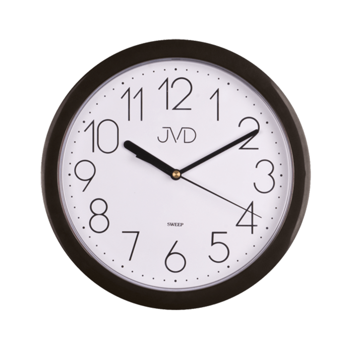 Černé moderní nástěnné tiché netikající hodiny JVD sweep HP612.3