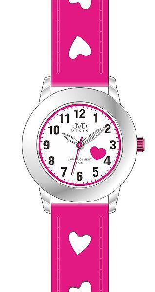 Dětské růžové hodinky JVD basic J7125.3 s růžovými srdíčky