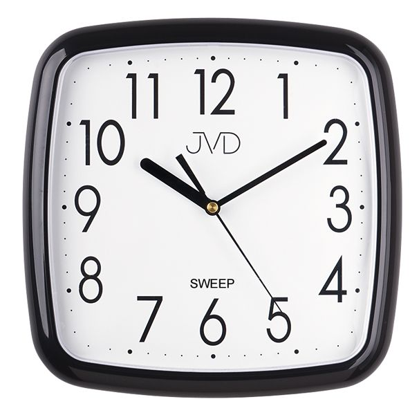 Černé moderní nástěnné netikající tiché hodiny JVD sweep HP615.11