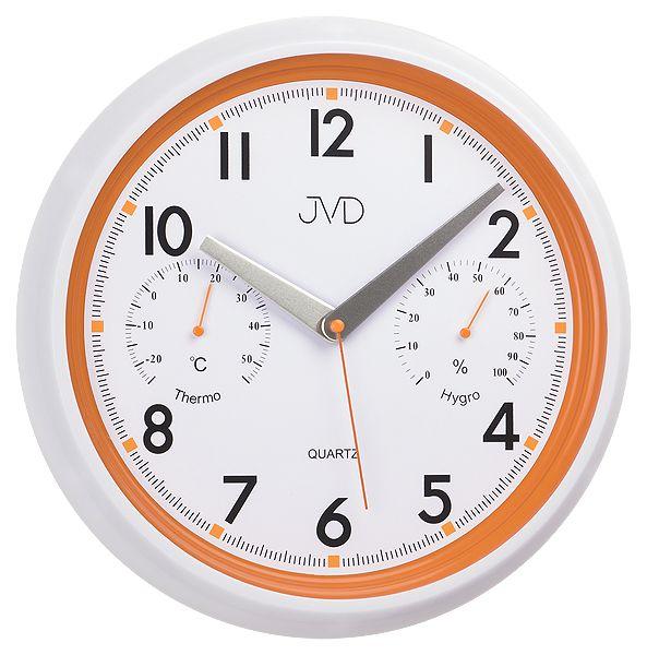 Bílo - oranžové tiché nástěnné hodiny JVD sweep HA1.2 s teploměrem a vlhkoměrem