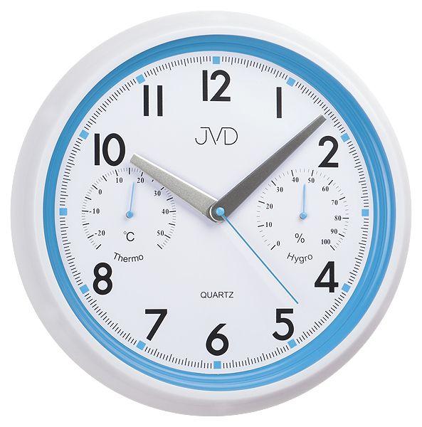 Modro - bílé tiché nástěnné hodiny JVD sweep HA1.1 s teploměrem a vlhkoměremhodiny JVD sweep HA1.1