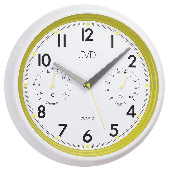 Bílo - zelené tiché nástěnné hodiny JVD sweep HA1.3 s teploměrem a vlhkoměrem