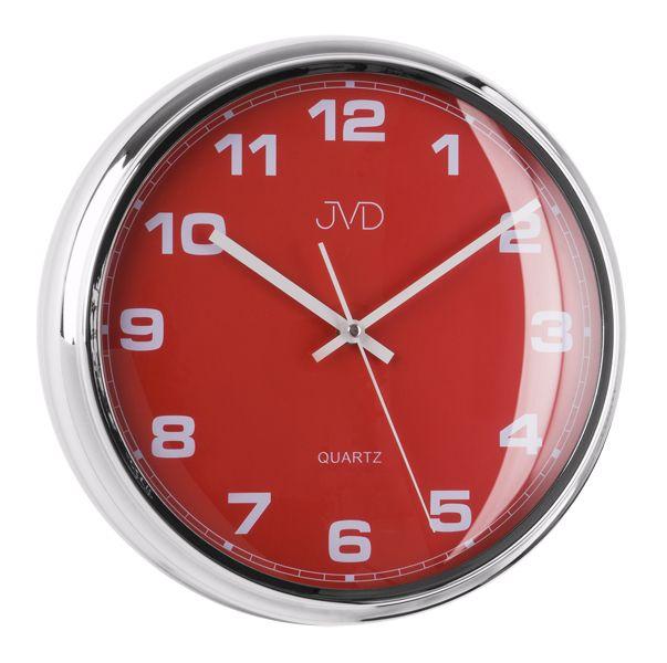 Luxusní červené nástěnné hodiny JVD sweep HA4.3 (kovový vzhled)