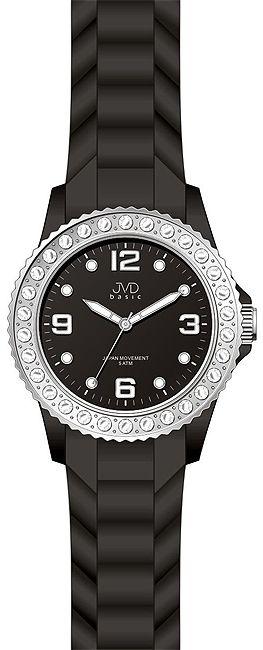Černé moderní silikonové náramkové hodinky JVD basic J6003.1 s broušenými kameny