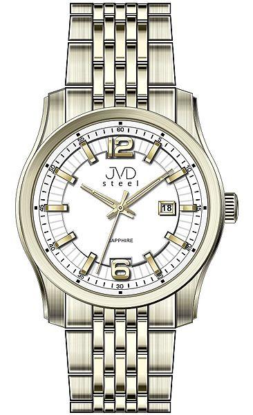 f2f73740d9d Pánské ocelové moderní zlaté hodinky JVD Steel W43.3 - stroj SEIKO 5ATM