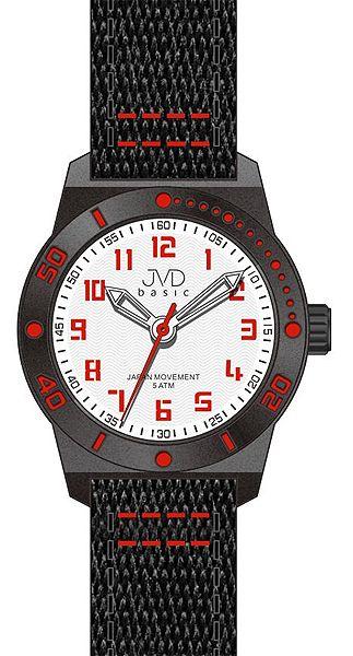Černo-červené dětské chlapecké sportovní hodinky JVD basic J7129.3 5ATM