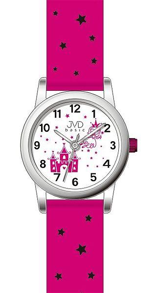 Dětské dívčí hvězdičkové růžové hodinky JVD basic J7135.2 pro holky