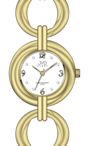 Dámské zlaté ocelové luxusní hodinky JVD steel J4122.3 5ATM