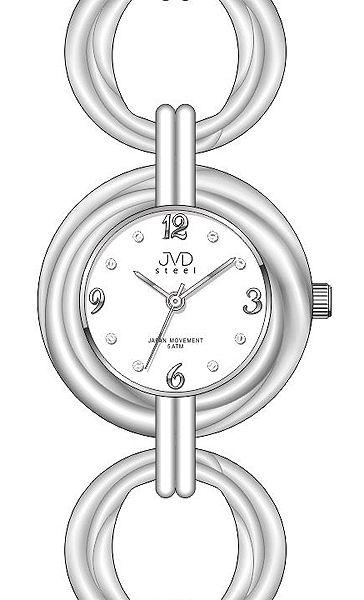 Dámské stříbrné ocelové luxusní hodinky JVD steel J4122.2 5ATM