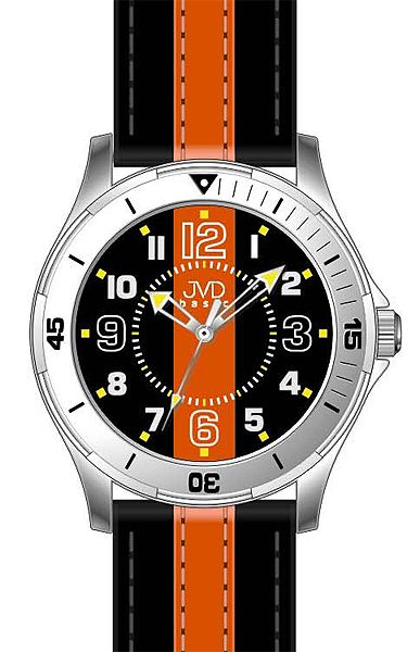 Dětské chlapecké dospělácké ornažovo černé hodinky JVD basic W59.1