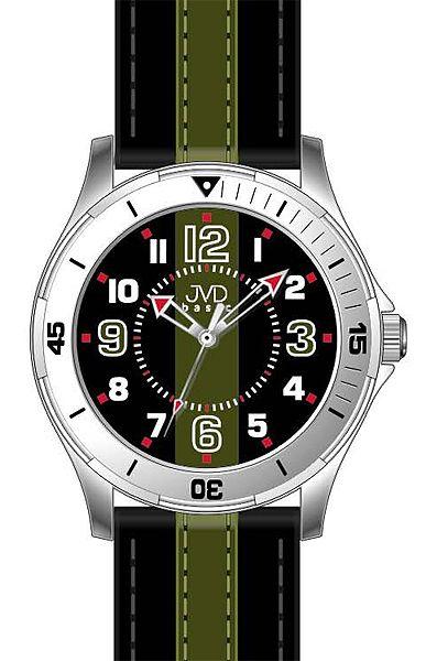 Dětské chlapecké dospělácké zeleno černé hodinky JVD basic W59.2