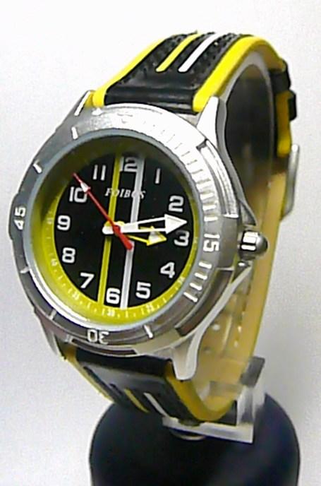 Chlapecké dětské sportovní žlutéčerné moderní hodinky Foibos 2067