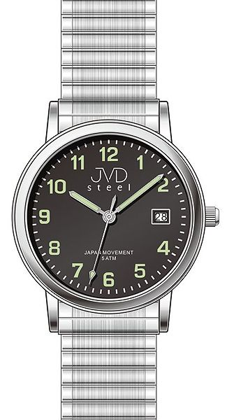 Stříbrné dámské natahovací hodinky JVD steel J4123.2 s pérovým řemínkem 57f49ba284