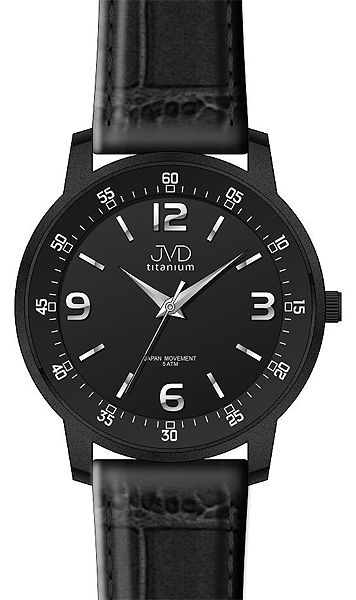 Černé titanové moderní odlehčené hodinky JVD titanium J2017.1 - 5ATM