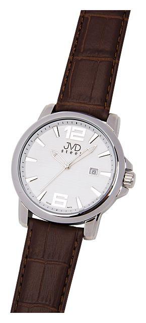 Vodotěsné pánské luxusní hodinky JVD steel C1139.1 na koženém pásku 10ATM