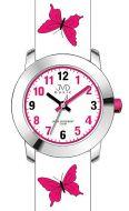 Dívčí dětské růžové hodinky JVD basic J7142.3 s motivem motýlka