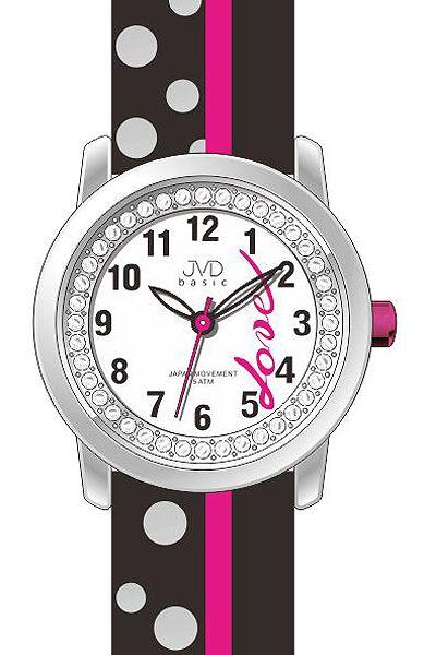 Dětské dívčí hodinky JVD basic J7137.3 zdobené kamínky pro zamilované děvčata