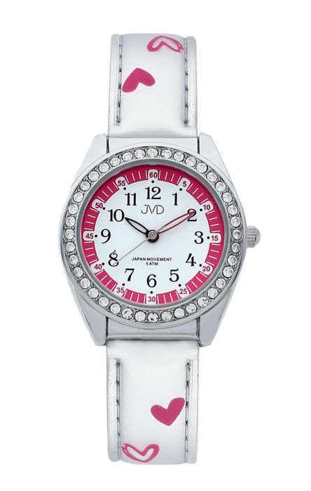 Dětské dívčí hodinky JVD basic J7117.4 se zirkony a srdíčky (POŠTOVNÉ ZDARMA!!!)