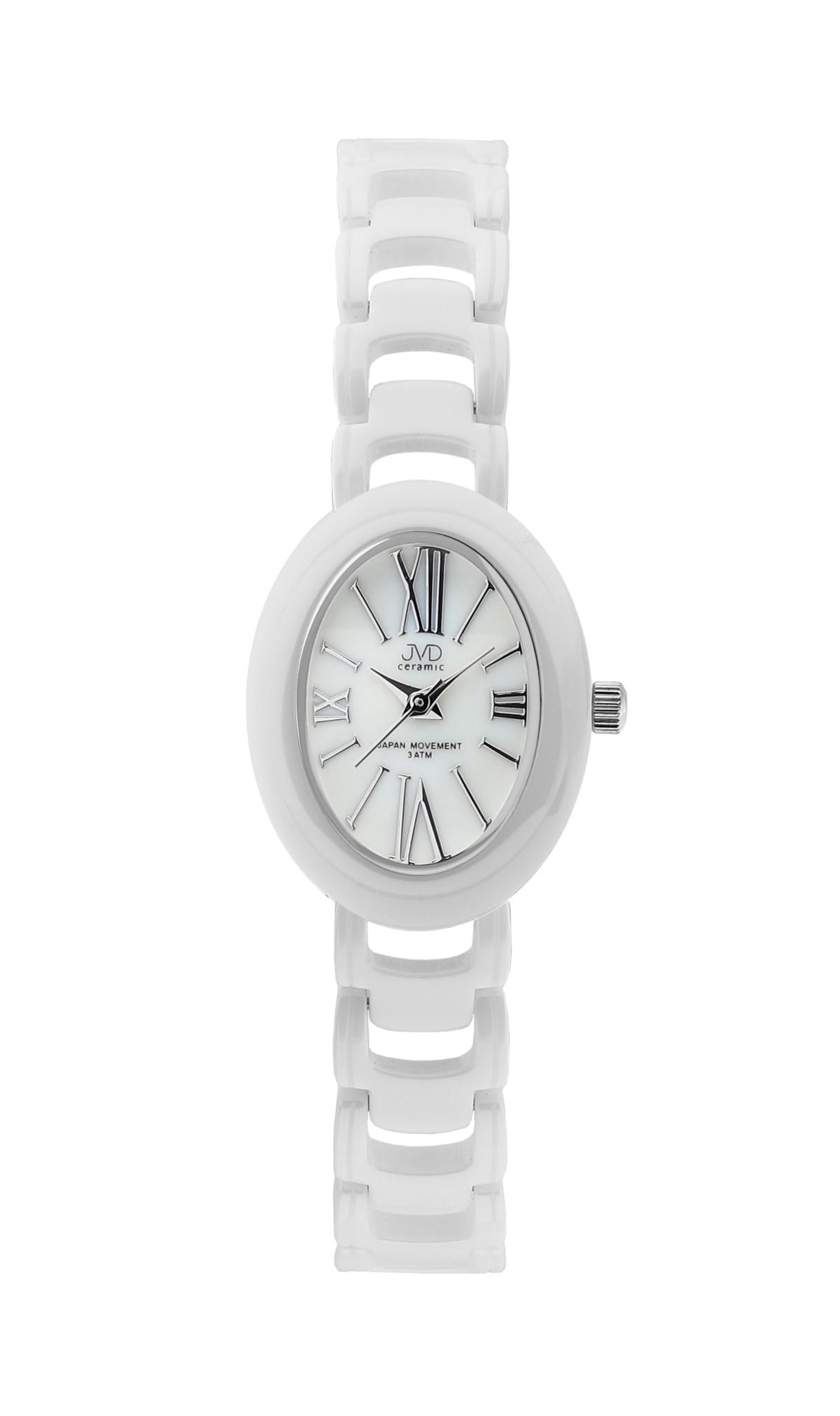 Luxusní keramické dámské náramkové bílé hodinky JVD ceramic J6010.3