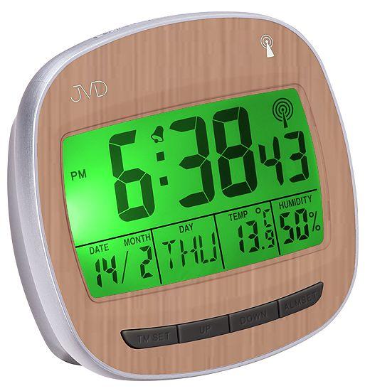 Rádiem řízený digitální budík JVD RB850.3 s imitací dřeva