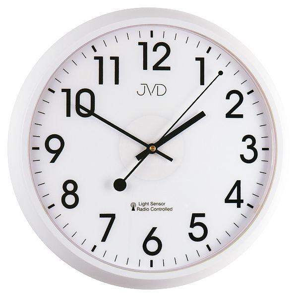 Bílé rádiem řízené hodiny JVD RH698.1 s podsvícením a senzorem stmívání