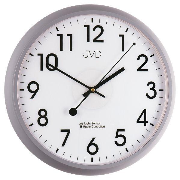 Šedé rádiem řízené hodiny JVD RH698.2 s podsvícením a senzorem stmívání