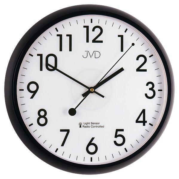 Černé rádiem řízené hodiny JVD RH698.3 s podsvícením a senzorem stmívání