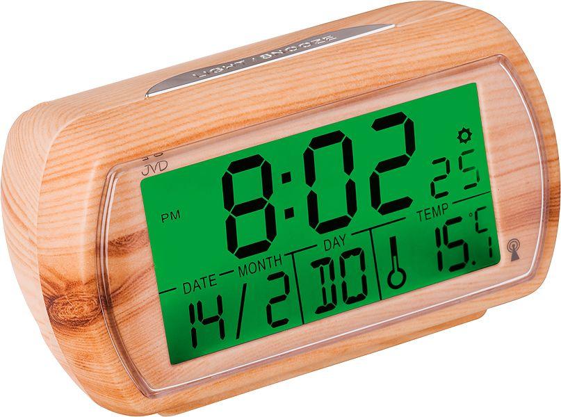 Světle dřevěný rádiem řízený digitální budík JVD RB78.2 s teploměrem