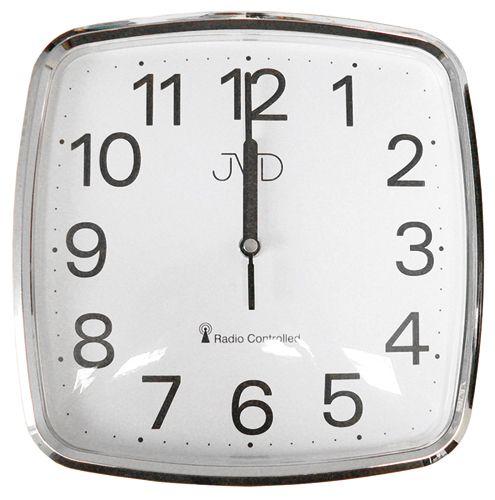 Stříbrné hranaté rádiem řízené levné hodiny JVD RH616.2