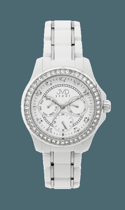 Bílé dámské chronografy náramkové vodotěsné hodinky JVD steel W29.1 (POŠTOVNÉ ZDARMA!!!)