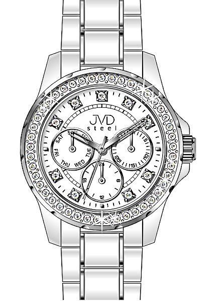 Bílé dámské chronografy náramkové vodotěsné hodinky JVD steel W29.1