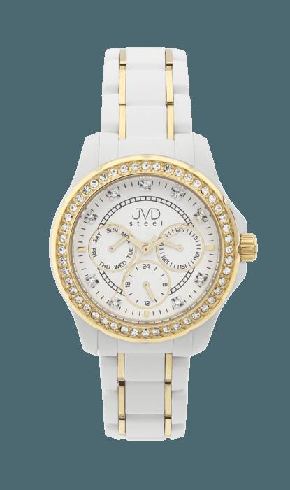 Bílé dámské chronografy náramkové hodinky JVD steel W29.2 - vodotěsné 10ATM (POŠTOVNÉ ZDARMA!!!)