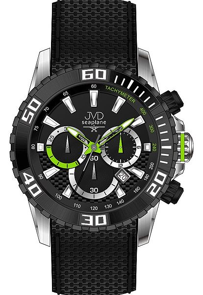 Vysoce odolné spotovní vodotěsné hodinky - chronograf JVD Seaplane J1090.2