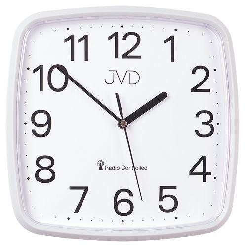 Bílé přesné hranaté rádiem řízené levné hodiny JVD RH616.1