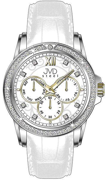 Dámské luxusní bílé vodě odolné náramkové hodinky JVD steel W53.2