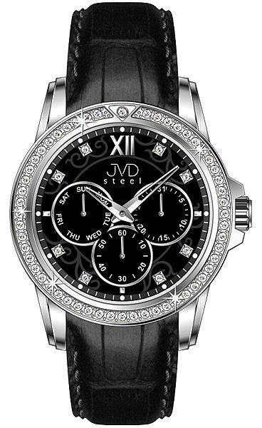 Dámské luxusní černé vodě odolné náramkové hodinky JVD steel W53.3