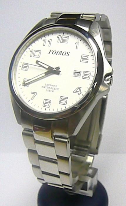 Pánské ocelové stříbrné vodotěsné hodinky foibos 2025.1 se safírovým sklem 10ATM