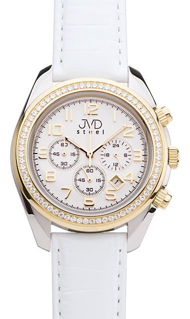 Dámské luxusní bílé chronografy hodinky JVD steel C1163.2 - 5ATM